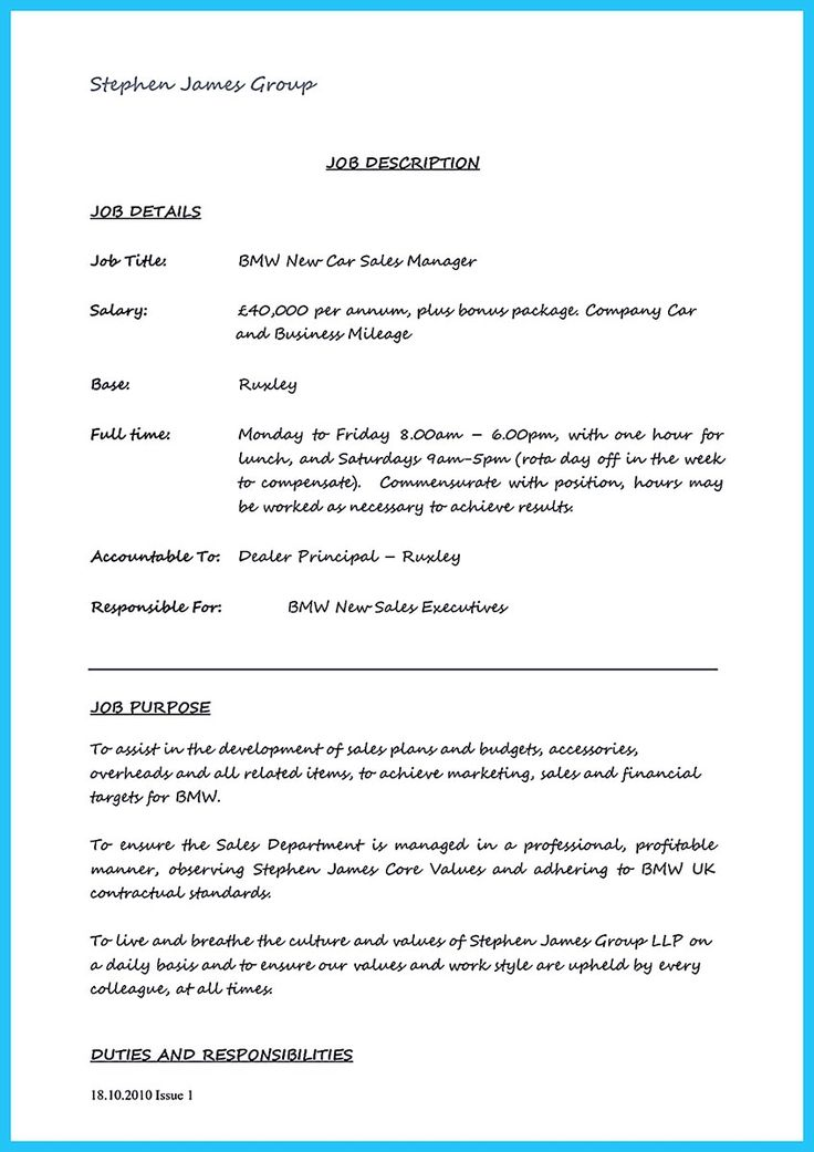 used car sales manager resume
