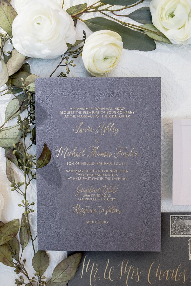 Floral deboss embossed wedding invitations wit gold foil, grey and gold wedding invites, debossed flower border, blind emboss, Elegant and Modern wedding invitation suites. Wouldn't it be Lovely just now