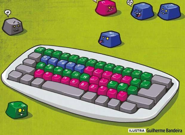 Como são os teclados de computador em outras línguas?