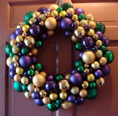 Mardi Gras Wreath!  http://www.deepfriedkudzu.com/2008/01/mardi-gras-wreath-ornament-wreath.html