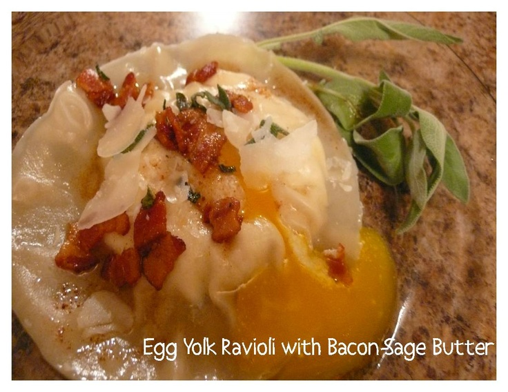 Egg Yolk Ravioli (Uova Da Raviolo) With Bacon-Sage Sauce Recipe ...