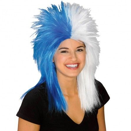Blue White Sports Fanatic Costume Wig- Compliment your favourite sports team costume by wearing this spikey costume wig.   You will look and feel amazing wearing this wig. www.thewigoutlet.com.au