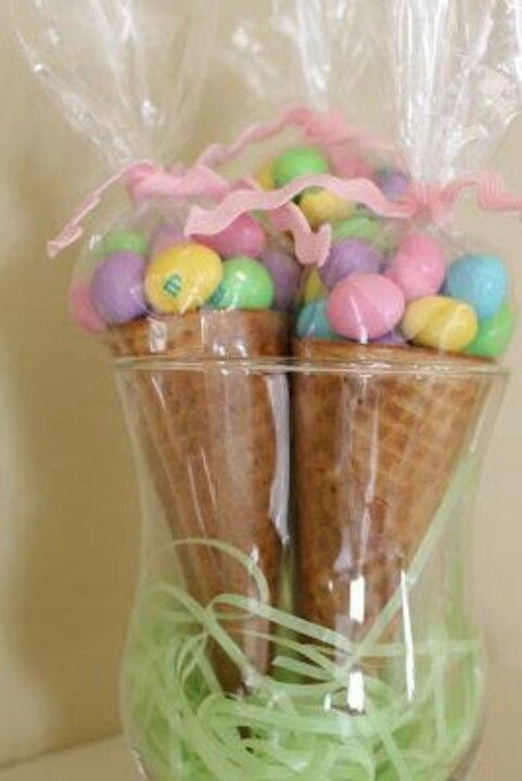 Great Easter idea m eggs in waffle cone. Cute classroom gift