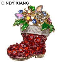 Синди xiang сапоги со стразами броши булавки для женщин Симпатичные Красного цвета рождественские обувь брошь пальто рюкзак брохес ювелирные...