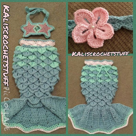 Crochet Mermaid Tail starfish halter set size nb-adult INSTANT DOWNLOAD, chevron style fin