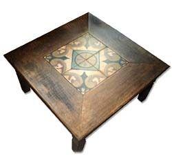 mesa madeira + azulejo