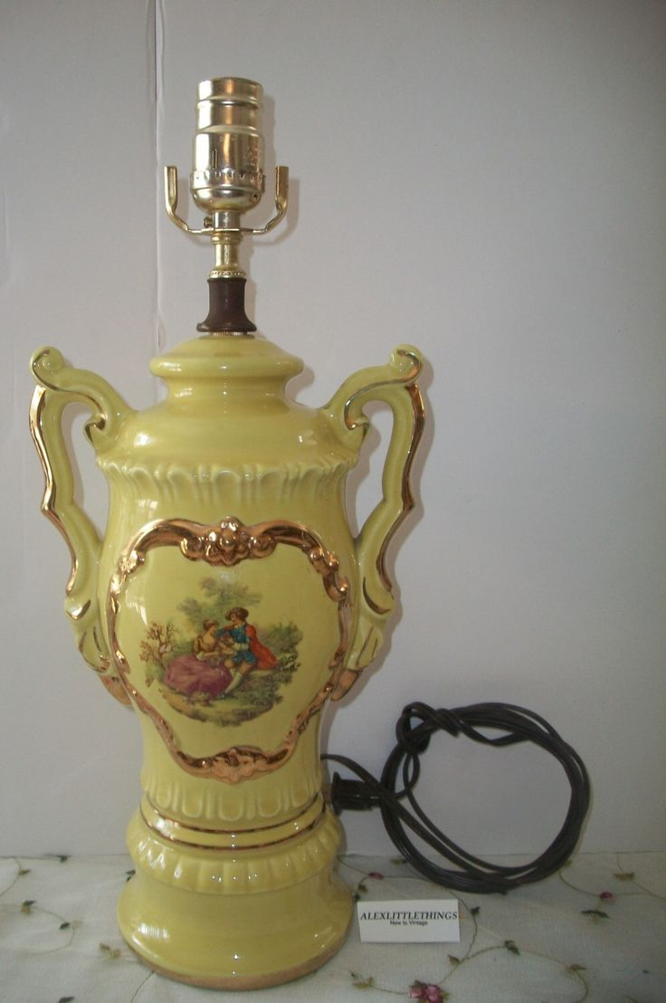 Yellow Boudoir Table Lamp Vintage French Victorian Style