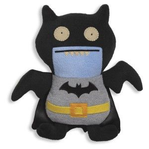 Ugly Dolls: Uglydoll DC Comics Black Ice-Bat as Batman It's so ugly it's cute. He comes with a small card describing him in detail. Ugly Dolls are durable and hold up to kid's abuse.  The fabric is real soft and snuggly. http://awsomegadgetsandtoysforgirlsandboys.com/ugly-dolls/ Ugly Dolls: Uglydoll DC Comics Black Ice-Bat as Batman