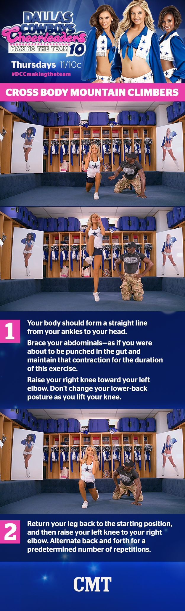 Happy #WorkoutWednesday! Let's get those legs in shape with the Cross Body Mountain Climbers. #DCCMakingTheTeam