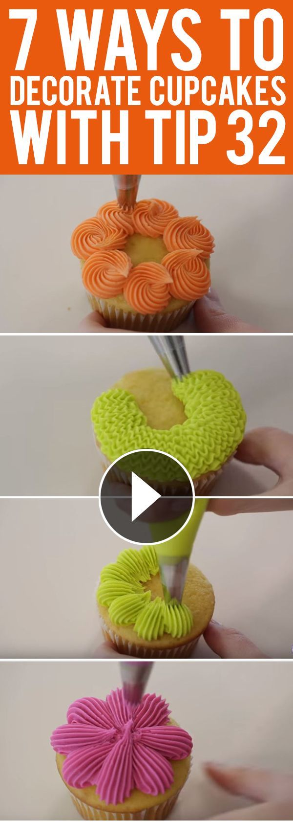 Learn 7 easy ways to decorate cupcakes with Wilton decorating tip no. 32! | Visit http://gwyl.io/ for more diy/kids/pets videos