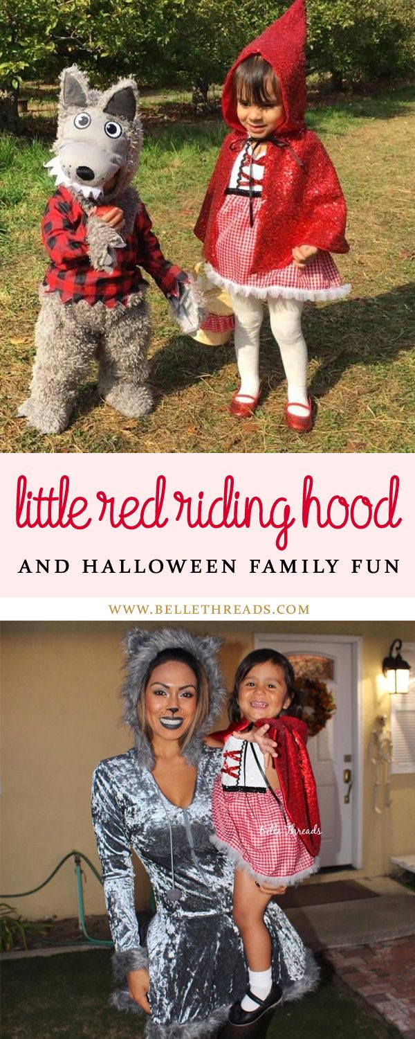 Love our customer Red Riding Hood Halloween Costume photos. So fun to see how they style them with families dressing up together. Shop now at Belle Threads for your favorite halloween costumes. Shown here is our Little Red Riding Hood Sparkle Romper Tutu Dress with Cape. These are beautiful rompers for babies, toddlers and preschoolers. www.bellethreads.com #littleredridinghood #littleredridinghoodparty