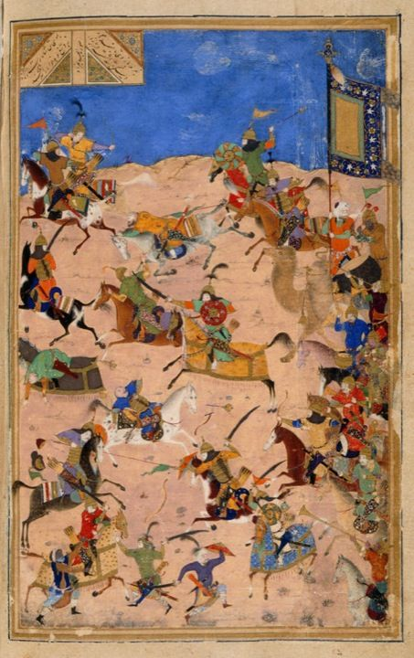 Battle between Iskandar and Dara, ascribed to Bihzad, from the Iskandarnāmah
