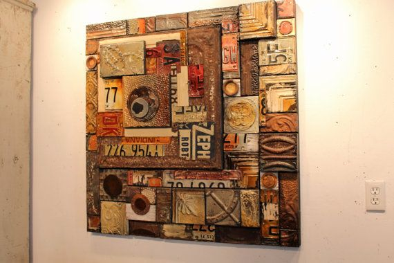 """Gearhead Christmas Holiday Gift for Him """"Zephyr"""" Man Cave Rustic License Plate Salvage Metal Mixed Media Auto Collage Tin Litho Advertising"""