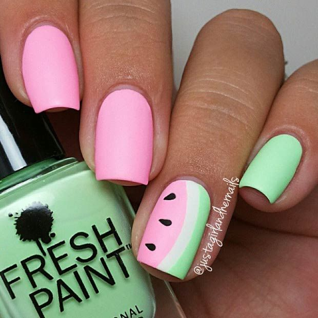 30 Eye-Catching Summer Nail Art Designs. Watermelon nails.