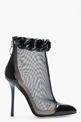 VERSUS Black mesh and chain trompe l'oeil ankle boots