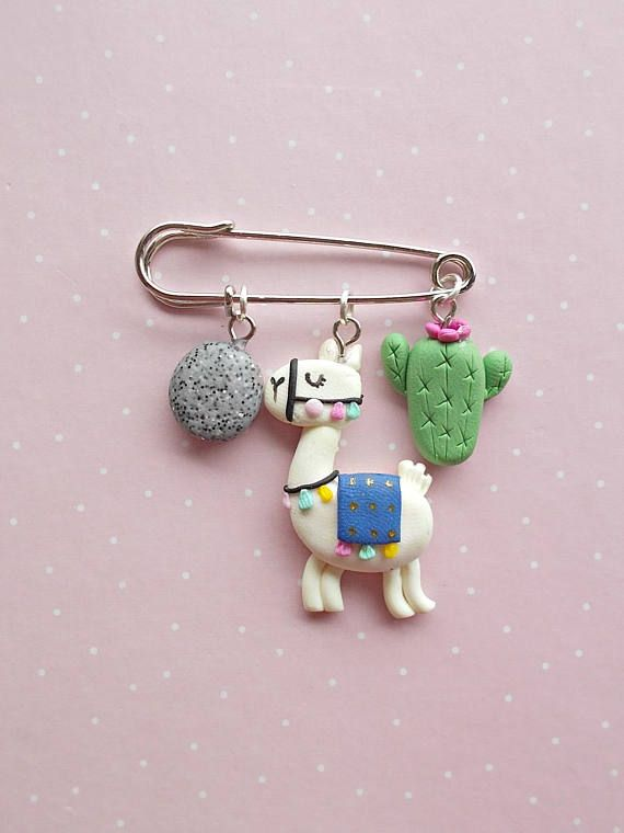 Llama Gift - Llama Jewelry - Llama Pin Badge - Llama Accessories - Christmas Gifts - Animal Jewelry - Polymer clay safety pin brooches