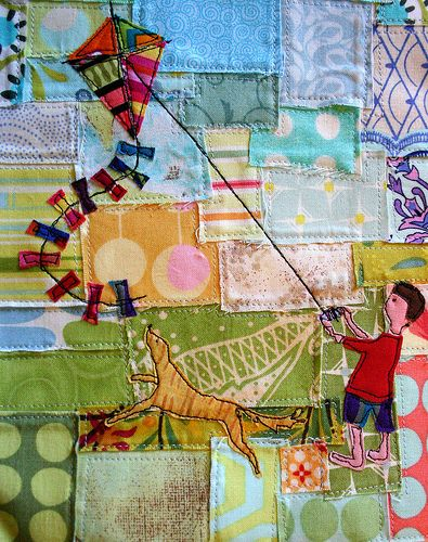 Quilt: Patchwork with  Love the pieced background
