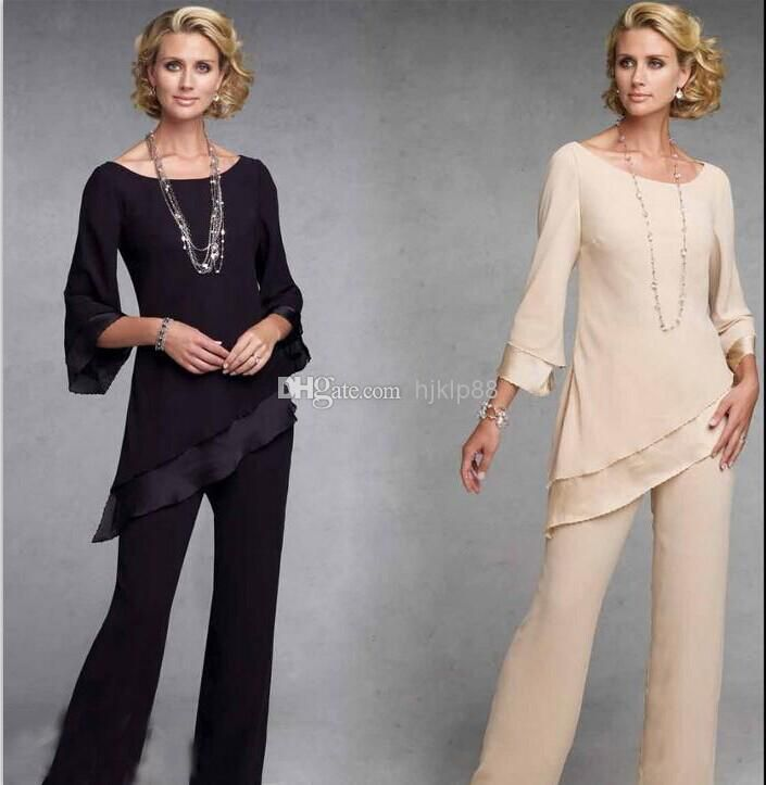 Mother of the Bride Pants Suit Fashion with Jacket Evening Dresses Party Dresses Mother of the Bride Dresses New Fasion, $94.25