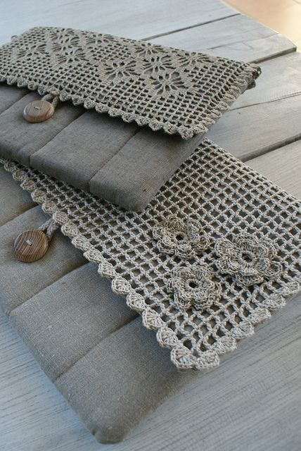 by SandraStJu, via Flickr a great way to use up that lace in the closet.