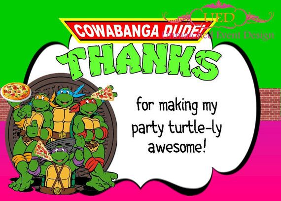 Girl TMNT Thank You card, Girl Teenage Mutant Ninja Turtle Party, Girl Ninja Turtle Thank You card  Check out this item in my Etsy shop https://www.etsy.com/listing/264352709/girl-tmnt-thank-your-card-teenage-mutant