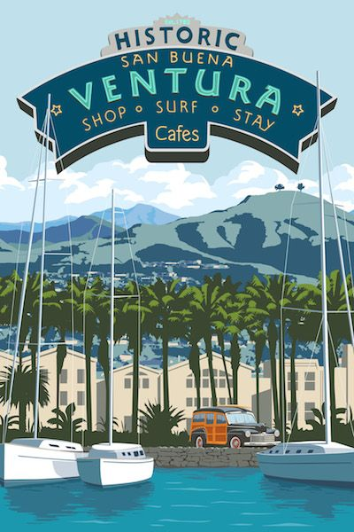 Steve Thomas Art Deco Travel Poster Ventura California http://justlookinggallery.com/artists/thomas/index.php