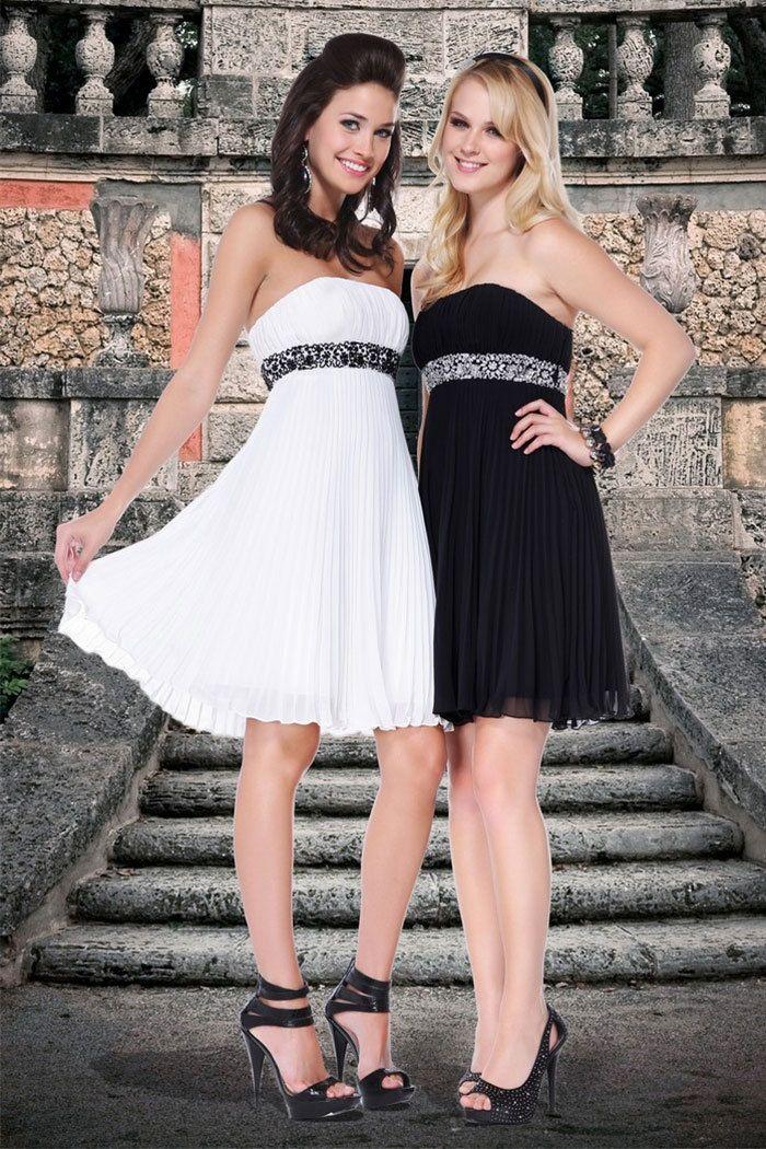 Empire Strapless Chiffon Short/Mini White Party Dress at Millybridal.com