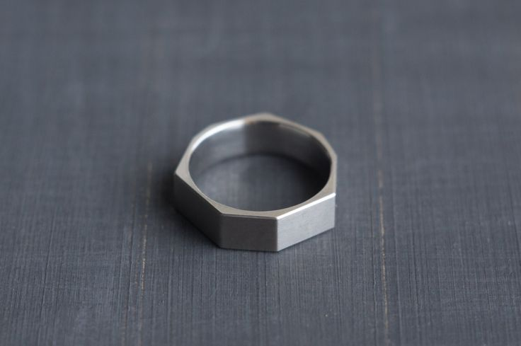 Titanium Faceted Ring Polygon Minimalist Band by Alexey Cherkasov