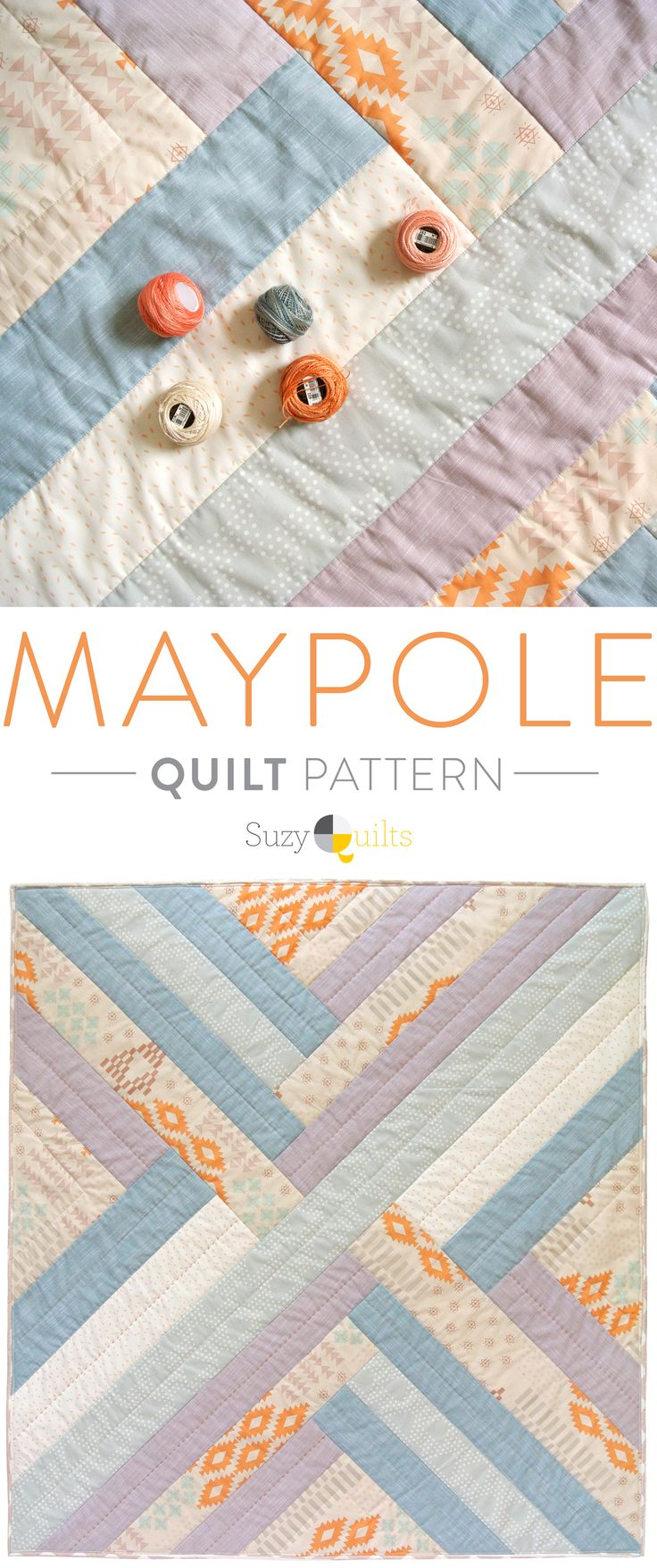 The Maypole Quilt pattern is a simple, clean design with bold impact. Make it in a variety of colors and see how different they all look!