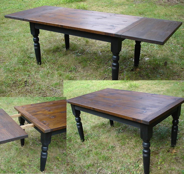 Custom Farm House Table, Painted Turned Legs, Distressed Hand Planed Thick  Pine Top