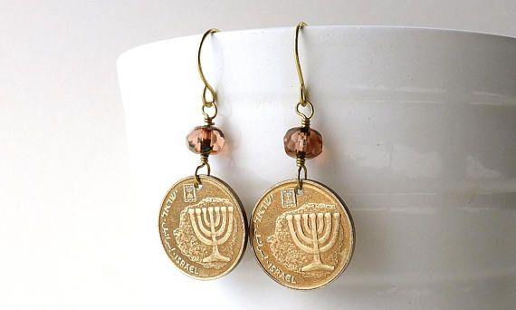 Jewish earrings Coin earrings Israel Bat Mitzvah gift
