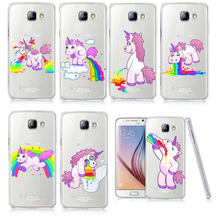 Unicorn Angel Horse Pattern Phone Case For Samsung Galaxy A3 A5 A7 J1 J5 J7 2016 Hippo Rainbow Unicorn Plastic Case Back Cover
