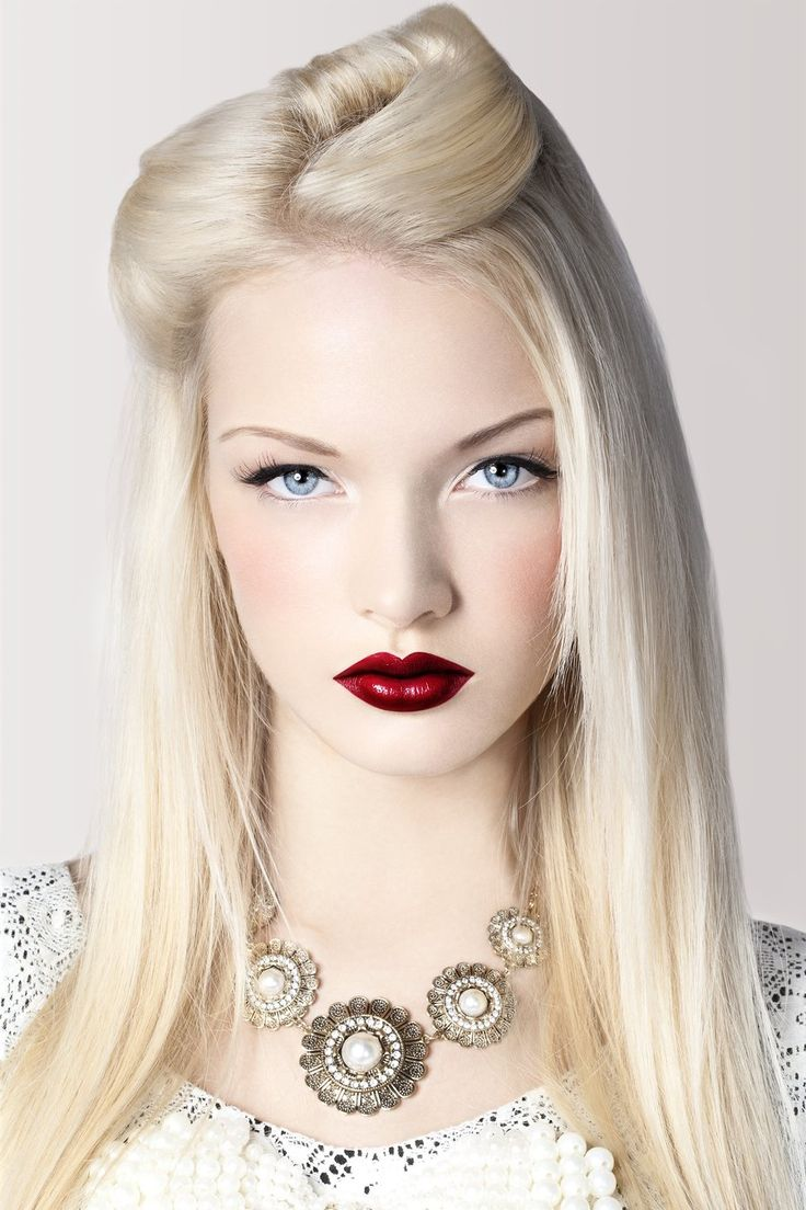 hair: Face, Blonde, Makeup, Hairstyle, Pale Skin, Beauty, Red Lipstick
