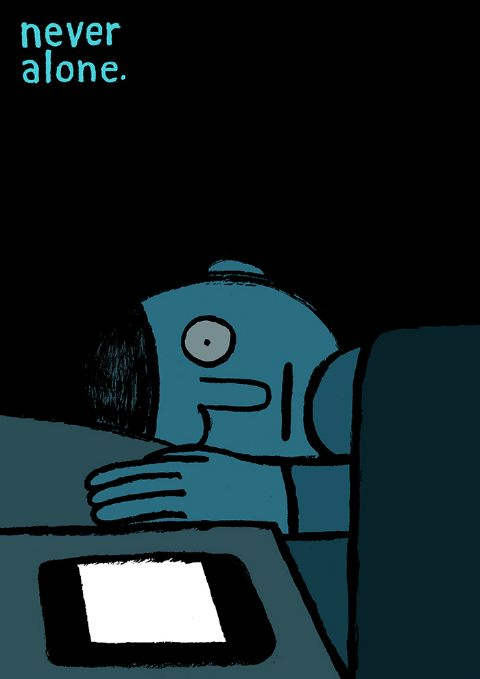 "homophobic: ""symphani: "" azurea: "" By Jean Jullien. "" Wow.. This is really sad how accurate this is "" ok….and? im not sure what this is supposed to represent are we not allowed to use technology or..."
