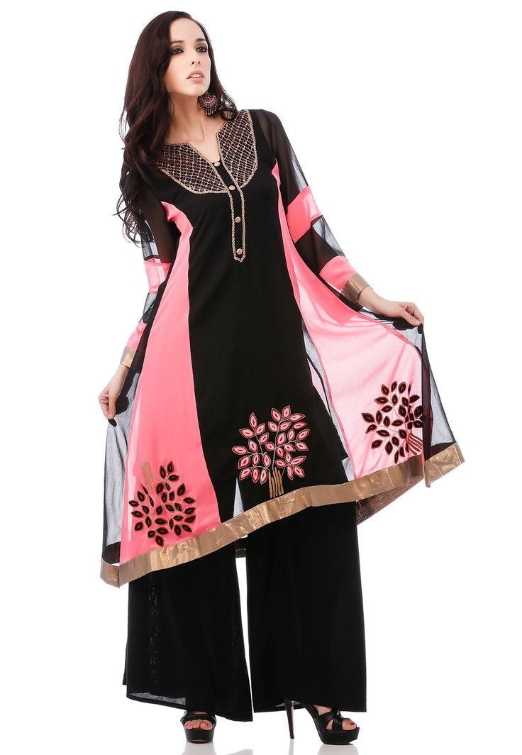 Embroidered Georgette Pakistani Suit in Black and Pink