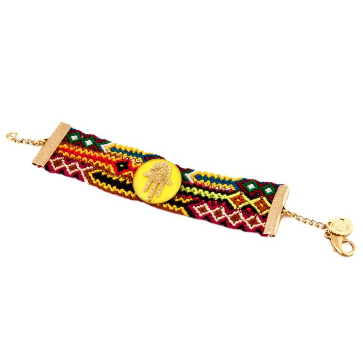 Neon Enamel Hamsa Hand Friendship Bracelet   Dana Levy