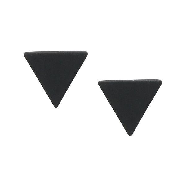 Black Minimalist Triangle Ear Studs (£3.07) ❤ liked on Polyvore featuring jewelry, earrings, black, triangle earrings, triangle stud earrings, stud earrings, studded jewelry and triangular earrings