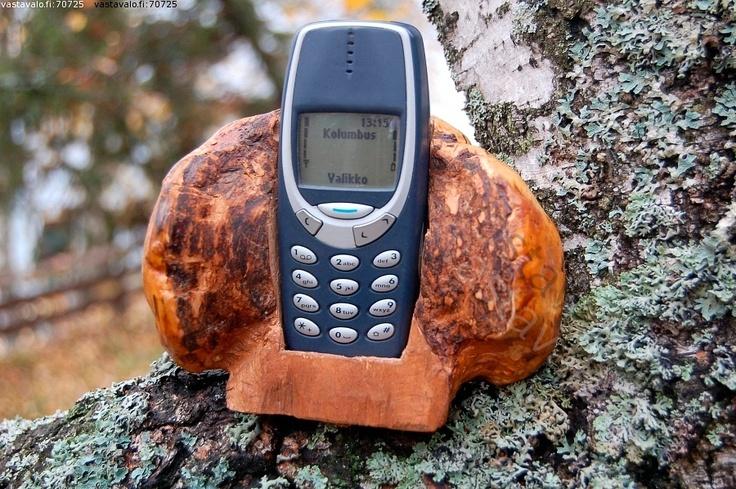 Puhelinteline - puhelinteline teline hyödyke askartelu pahka koivunpahka puutyö luonto puhelin koivu hx1.5
