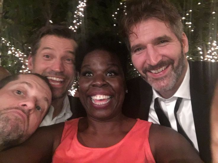 D.B. Weiss, Nikolaj Coster-Waldau and David Benioff with Leslie Jones after the 2016 Primetime Emmys (Leslie Jones on Twitter)