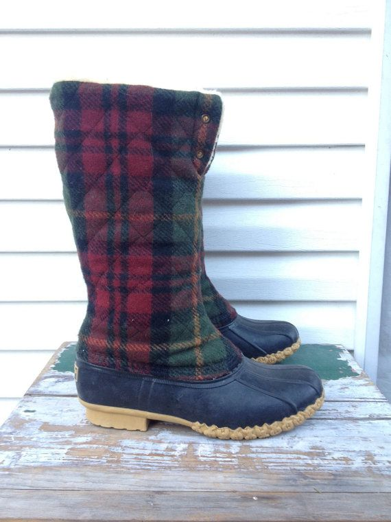 80s Plaid Fleece Boots LL BEAN Waterproof Snow by MileZeroVintage