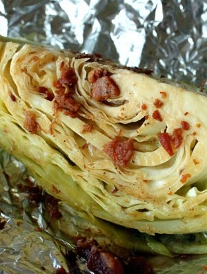 1 tsp olive oil (5g)  2 tbsp real bacon bits (14g)  2 tbsp lemon juice   1 tbsp worcestershire sauce  1/4 tsp kosher salt  1/4 tsp ground black pepper (more or less to taste)  1 Medium Head of Cabbage  Preheat the oven (or the grill, you lucky son of a b ;) to 425 degrees.  Mix the olive oil, bacon bits, lemon juice, worcestershire sauce, salt and pepper to make the marinade.
