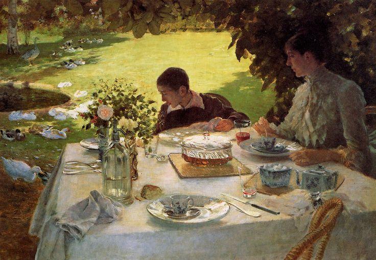Giuseppe De Nittis, Colazione in giardino, 1883-1884, olio su tela, Pinacoteca De Nittis, Barletta