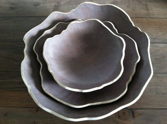 Dinner Plate Set Porcelain Nesting Serving Bowls Sculptural Petal Plates Set in Grey