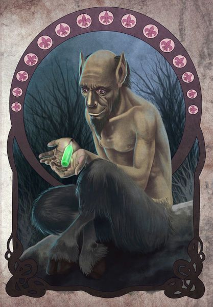 Urisk- Scottish myth: a brownie-like satyr. It was a forest dwelling creature that had the torso of a man with the legs of a goat. They have strong sexy al impulses and like getting drunk.