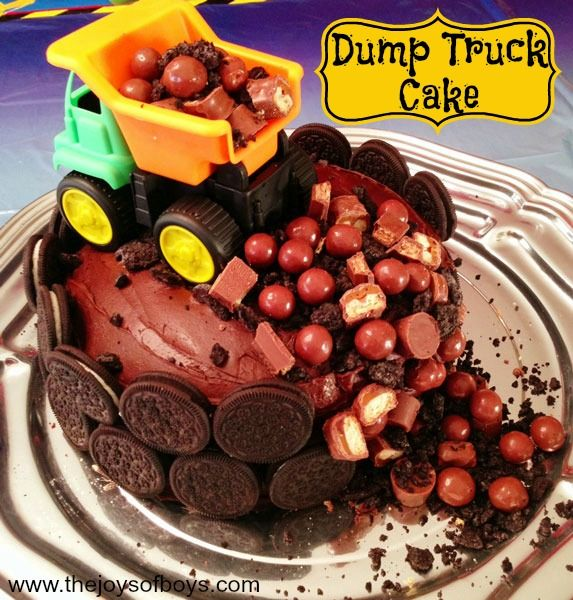 Dump Truck Cake - Perfect boy birthday cake. Looks like a great way to cover up a cake accident too, lol.