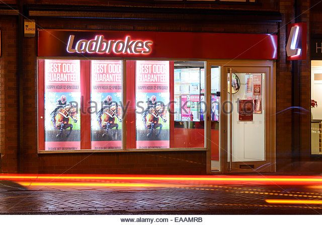 Ladbrokes betting shop in Chester city centre UK - Stock Image