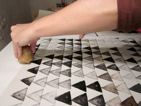 Make your own distinctive packaging paper with potato stamping.