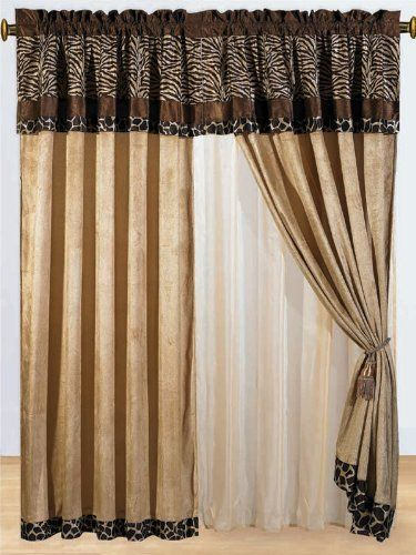 8 Pc Modern Safari - Zebra - Giraffe Print Brown Micro Fur Curtain Set by Grand Linen, http://www.amazon.com/dp/B0078I3374/ref=cm_sw_r_pi_dp_vJAjrb0CAG5MY
