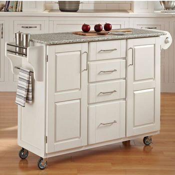 Kitchen Carts - Mix and Match White Kitchen Cart Cabinet w/ Granite Top | kitchensource.com