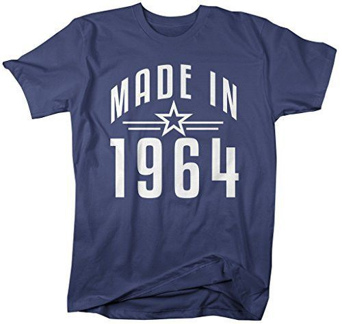 Shirts By Sarah Men's Made In 1964 Birthday T-Shirt Retro Star Custom Shirts