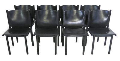 Lucca Antiques - Seating: Set of (8) Italian Cassina Black Leather Dining Chairs